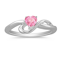 Heart Shaped Pink Sapphire Ring in Sterling Silver