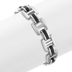 Stainless Steel and Rubber Bracelet (8.5 in.)