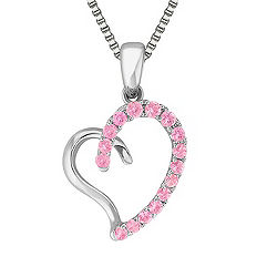 Round Pink Sapphire and Sterling Silver Sweetheart Heart Pendant (18)