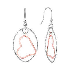 Sterling Silver Floating Heart Pendant and Earrings Two-Piece Set (18)