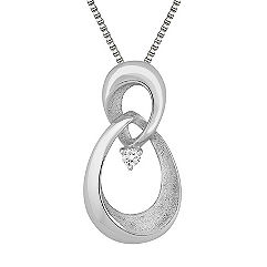 Round Diamond and Sterling Silver Pendant (18 in.)