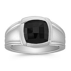 Cushion Cut Black Sapphire Ring