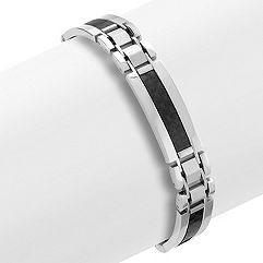 Stainless Steel and Carbon Fiber Bracelet (9 in.)