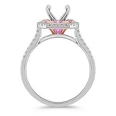 Halo Pink Sapphire and Diamond 14k White and Rose Gold Engagement Ring