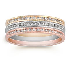 Round Diamond Ring in Tri-Tone Gold