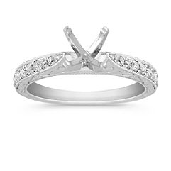 Vintage Cathedral 14k White Gold Engagement Ring with Engraving and Pavé Setting