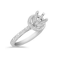 White Gold Engraved Halo Engagement Ring