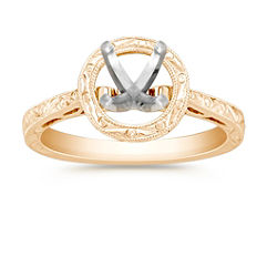 Halo Solitaire Yellow Gold Engagement Ring