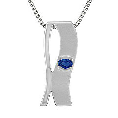 Oval Sapphire and Sterling Silver Pendant (18 in.)