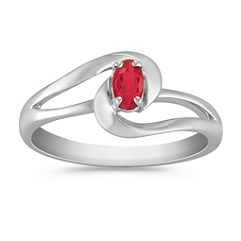 1/4 ct t.w. Oval Ruby Ring in Sterling Silver