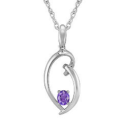 Oval Lavender Sapphire and Sterling Silver Pendant (18 in.)