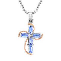 Baguette Ice Blue Sapphire and Princess Cut Diamond Cross Pendant in 14k White and Rose Gold (18 in.)