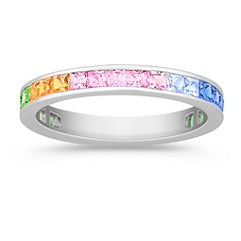 Princess Cut Multi-Colored Sapphire Ring