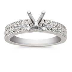 Cathedral Baguette and Round Diamond Engagement Ring with Pave Setting