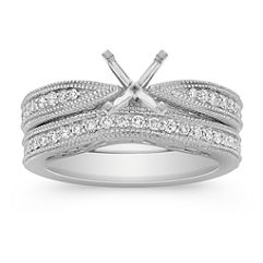 Vintage Cathedral Diamond Platinum Wedding Set