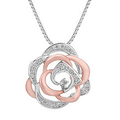 Round Diamond Pendant in 14k White and Rose Gold (18 in.)