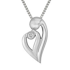 Round Diamond and Sterling Silver Mother & Child Heart Pendant (18 in.)