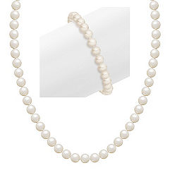 5.5mm Cultured Freshwater Pearl Strand and Bracelet Two-Piece Loving Hearts Set (23'')