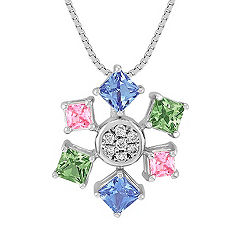 Fancy Shape Multi-Colored Sapphire and Round Diamond Pendant (18 in.)