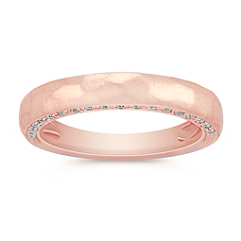 Diamond Rose Gold Wedding Band with Pavé Setting for Her