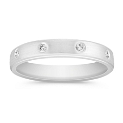 Round Diamond Wedding Band for Her