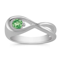 Round Green Sapphire Ring in Sterling Silver