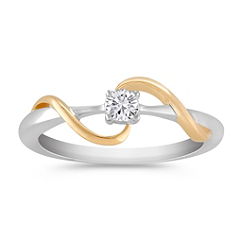 Swirl Diamond Ring in Sterling Silver and Yellow Gold