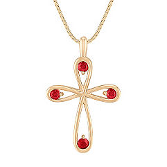 Round Ruby Cross Pendant (18 in.)