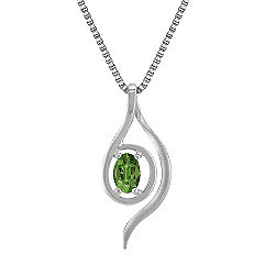 Oval Green Sapphire and Sterling Silver Pendant (18 in.)