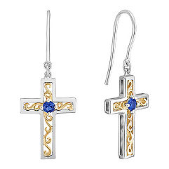 Sapphire Cross Earrings in Sterling Silver