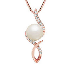 7mm Cultured Freshwater Pearl and Round Diamond Pendant in Rose Gold (18 in.)