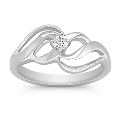 Swirl Round Diamond Ring in Sterling Silver