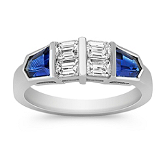 Tapered Baguette Sapphire and Emerald Cut Diamond Ring