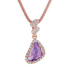 Freeform Lavender Sapphire and Round Diamond Pendant in 14k Rose Gold (18 in.)