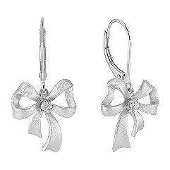 Sterling Silver Diamond Bow Earrings