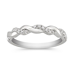 Twist Diamond Wedding Band with Pavé Setting