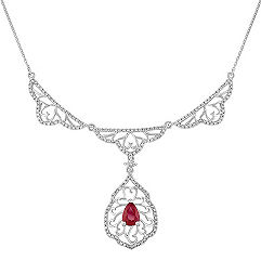 Pear Shaped Ruby and Round Diamond Necklace (18)