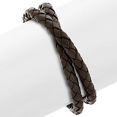 Braided Leather and Stainless Steel Bracelet (17 in.)