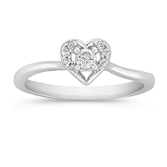 Round Diamond Heart Ring in Sterling Silver