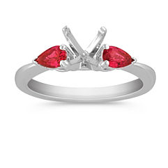 Three-Stone Pear Shaped Ruby Engagement Ring