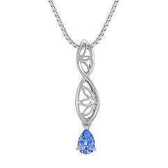 Pear Shaped Kentucky Blue Sapphire and Sterling Silver Pendant (18 in.)