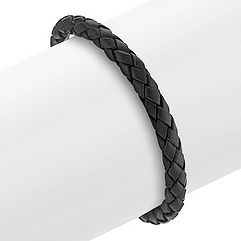 Braided Leather and Stainless Steel Bracelet (8.5)
