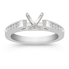 Cathedral Platinum Diamond Engagement Ring with Channel Setting