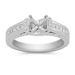 Princess Cut and Round Diamond Platinum Engagement Ring with Channel and Pavé Setting