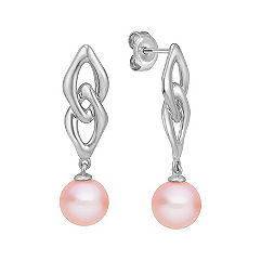 7mm Pink Cultured Freshwater Pearl Earrings in Sterling Silver