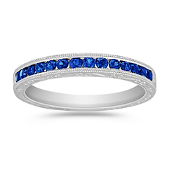 Round Sapphire Anniversary Band with Channel Setting