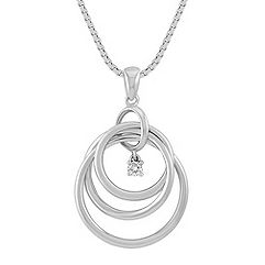 Diamond and Sterling Silver Circle Pendant (18 in.)