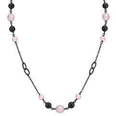 6.5-9mm Multi-Colored Cultured Freshwater Pearl, Black Agate and Sterling Silver Necklace (30)