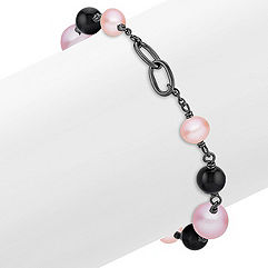 6.5-9mm Multi-colored Cultured Freshwater Pearl, Black Agate and Sterling Silver Bracelet (7.5 in.)
