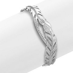 Sterling Silver Feather Cuff Bracelet (7 in.)